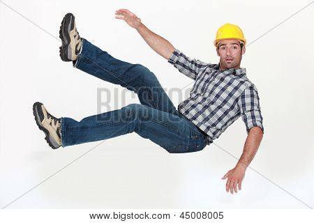 Construction worker in freefall.