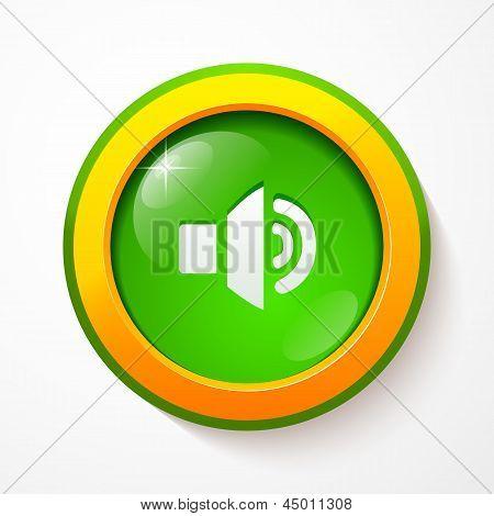 Green glass vector sound button