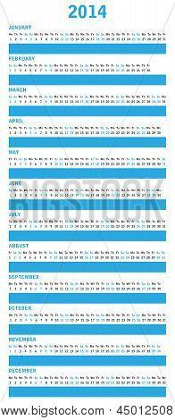Special Blue Calendar For 2014