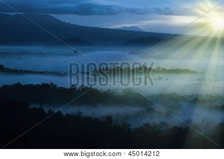 Asia Beautiful Sunrise Landscape In Indonesia