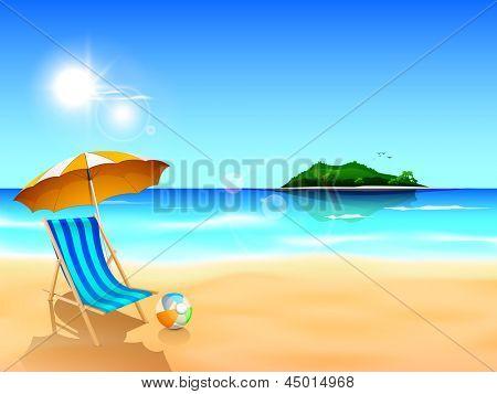 Evening summer background on beach.