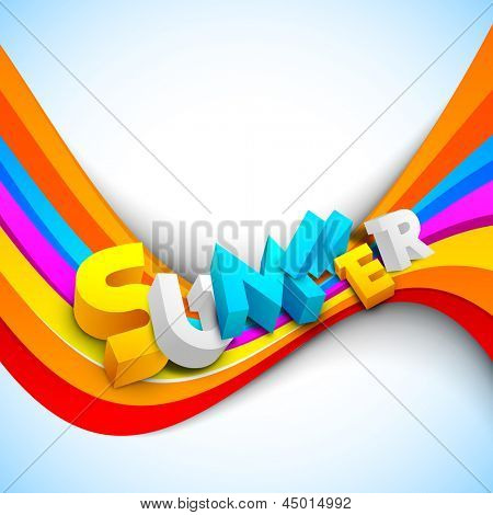 3d summer text on colorful wave background, banner, flyer or poster for summer holidays.