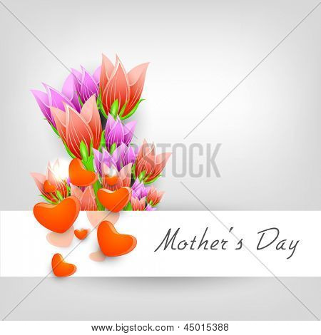 Happy Mother's Day background with colorful flowers and hearts on grey background.