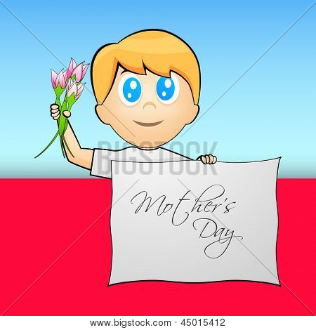 Cute little boy holding flowers and tag Mothers Day.