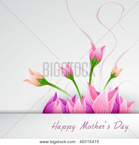 Happy Mothers Day concept with flowers on grey background.