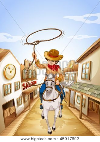 Illustration of a boy riding in a horse holding a rope