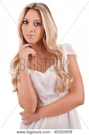 Young attractive blonde on light background