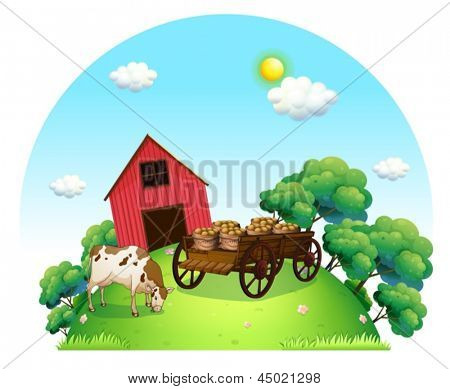 Illustration of a cow and a carriage in front of a barn in the farm on a white background