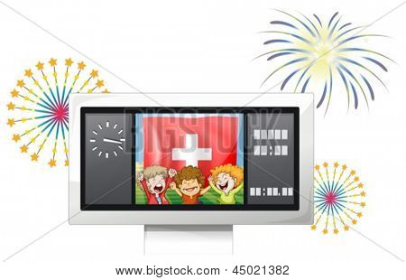 Illustration of the three kids inside the scoreboard with the Switzerland flag on a white background