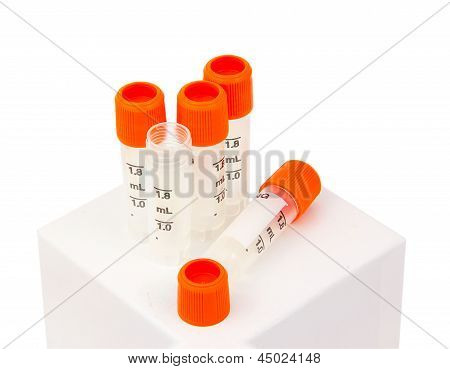 Biology Lab Tubes With Orange Screw Caps