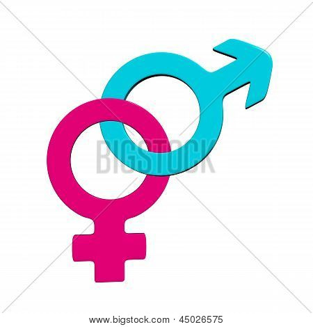 3d male and female symbols.