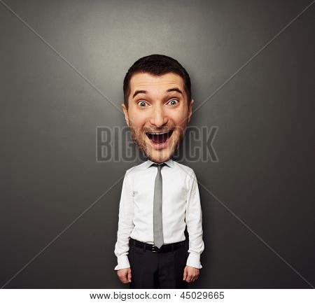 funny picture of bighead happy man in white shirt and tie over dark background