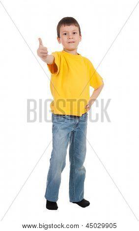 boy in yellow t-shirt show finger
