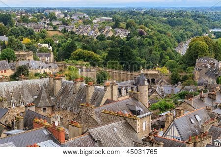 Dinan Old Town Panoramic View, Brittany, France
