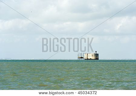 Fort Boyard in the middle of the sea in France poster