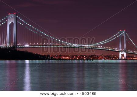 Night Shot Of Verrazano Narrows Bridge