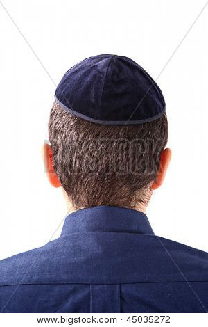 A kippah is a small cap (head covering), is a thin, slightly-rounded skullcap traditionally worn by observant Jewish men.