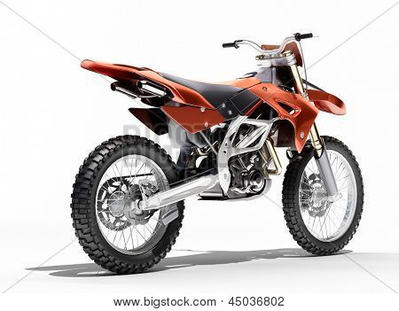 Sport bike enduro or trial close up on a light background with shadow