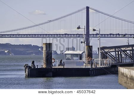 Dock And Bridge In Lisbon
