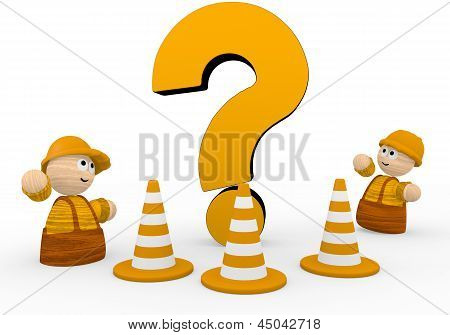 question symbol  with two cute 3d characters