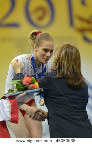 MOSCOW, RUSSIA - APRIL 21: Kseniia Afanaseva, Russia win gold medal in floor exercise in final of 5th European Championships in Artistic Gymnastics in Moscow, Russia on April 21, 2013