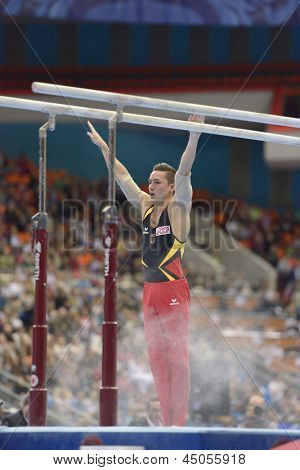 MOSCOW, RUSSIA - APRIL 21: Marcel Nguyen, Germany finished exercise on parallel bars in final of 5th European Championships in Artistic Gymnastics in Moscow, Russia on April 21, 2013