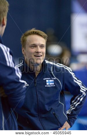 MOSCOW, RUSSIA - APRIL 21: Petrus Laulumaa, Finland after vault competition in final of 5th European Championships in Artistic Gymnastics in Moscow, Russia on April 21, 2013