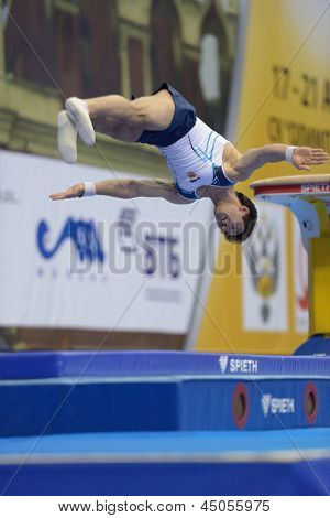 MOSCOW, RUSSIA - APRIL 21: Artur Davtyan, Armenia performs vault in final of 5th European Championships in Artistic Gymnastics in Moscow, Russia on April 21, 2013