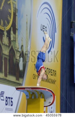 MOSCOW, RUSSIA - APRIL 21: Denis Ablyazin, Russia performs vault in final of 5th European Championships in Artistic Gymnastics in Moscow, Russia on April 21, 2013