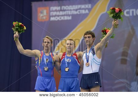 MOSCOW, RUSSIA - APRIL 21: Koczi, Romania, left, Ablyazin, Russia, center, and Davtyan, Armenia win medals in vault on European Championships in Artistic Gymnastics in Moscow, Russia on April 21, 2013