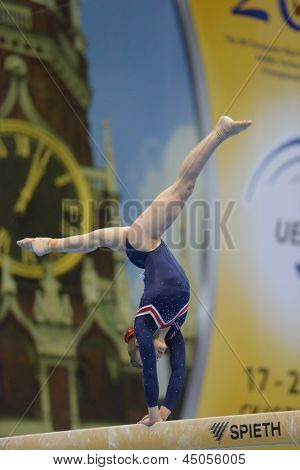 MOSCOW, RUSSIA - APRIL 21: Ruby Harrold, Great Britain performs exercise on balance beam in final of 5th European Championships in Artistic Gymnastics in Moscow, Russia on April 21, 2013