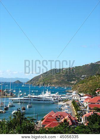 :Aerial view at Gustavia Harbor with mega yachts at St Barts