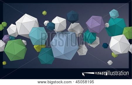 Color composition of flying icosahedron for graphic design