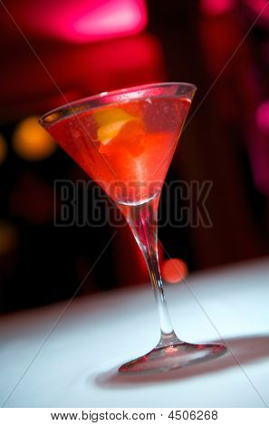 Red Colored Martini With Garnish