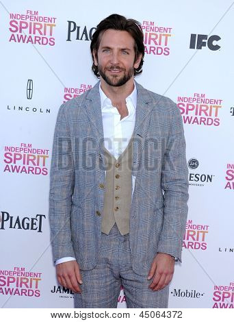 LOS ANGELES - FEB 23:  Bradley Cooper arrives to the Film Independent Spirit Awards 2013  on February 23, 2013 in Santa Monica, CA.