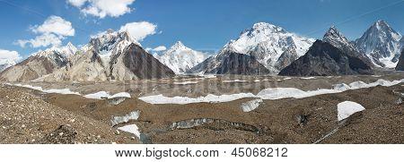 K2 And Karakorum Peaks Panorama At Concordia, Pakistan