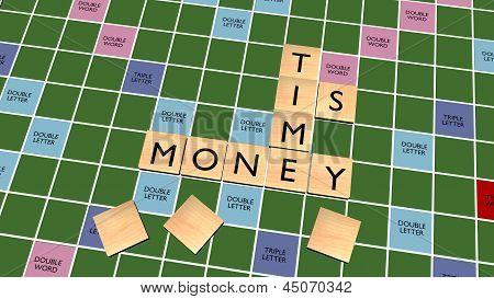 Time Is Money Crossword On Scrabble Board