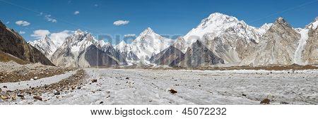 K2 And Baltoro Glacier Panorama