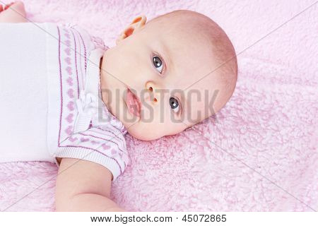 Newborn On Pink Blanket