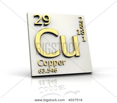 Copper form Periodic Table of Elements - 3d made poster