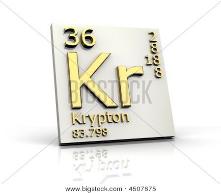 Krypton form Periodic Table of Elements - 3d made poster