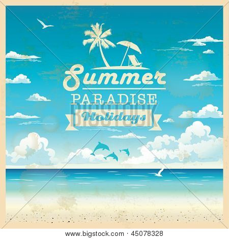 Summer beach vector background in retro style