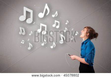 Pretty young woman singing and listening to music with musical notes getting out of her mouth