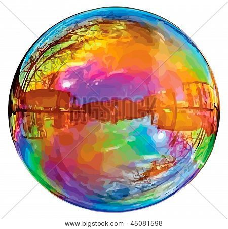 Reflecting soap bubble.