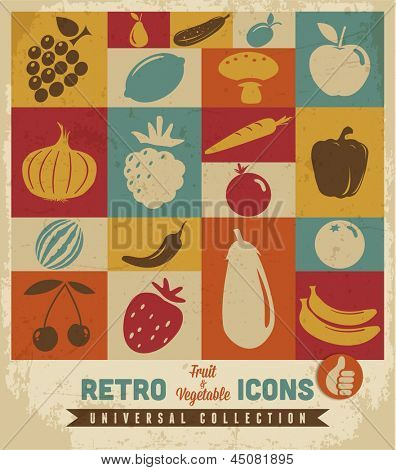 Fruit and vegetable icons set.Vector