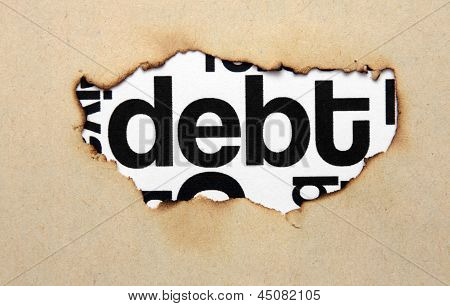 Debt Text On Paper Hole