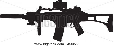 Military Assault Rifle Illustration With Clipping Path