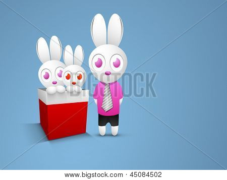 Happy Fathers Day concept with two little rabbit son in a red gift box with rabbit father on blue background.
