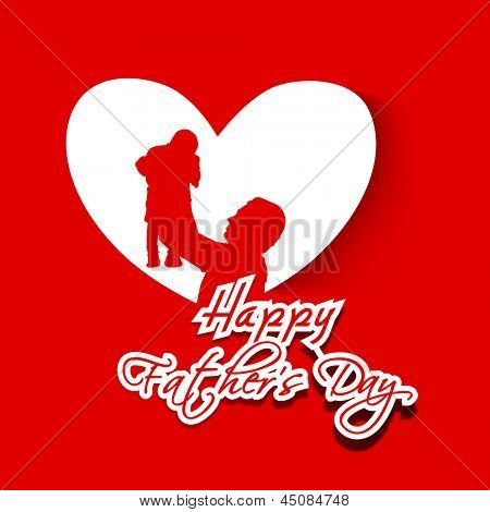 Happy Fathers Day text with silhouette of father and his child on red background. poster