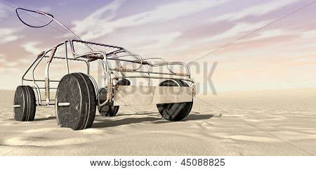 Wire Toy Car In The Desert Perspective